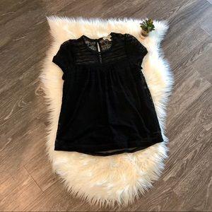 🌿HP🌿 Meraki High/Low Lined Lace Blouse in Black